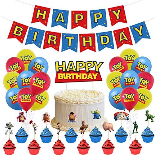 32 Piezas Toy Story Party Supplies ZSWQ-decoración de fiestas, incluye pancarta de globo, pastel y cupcakes, decoración para niños, baby shower, suministros de cumpleaños