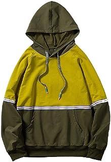 HEFASDM Mens Patchwork Pullover Hoodie Fit Long Sleeve Hood Hooded Sweatshirt