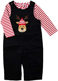 Newborn/Infant Boys Black Corduroy Overall Set with Reindeer Christmas Motif