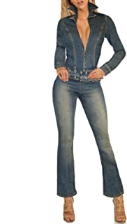 Womens Super Comfy Stretch Ripped Denim Catsuit Jumpsuit Overalls