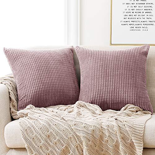Deconovo Kissenbezug Kordsamt Dekokissen Kissenhülle mit Verstecktem Reißverschluss Super Weich für Sofa Couch Schlafzimmer Rosa Lila 45x45 cm 2er Set