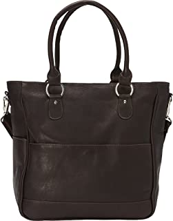 Piel Leather Carry-All Cross Body Tote, Chocolate
