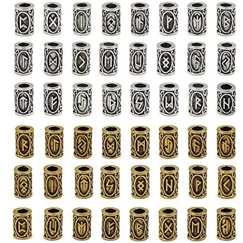 48 piezas de cuentas de barba vikinga, Perlas de Vikingo para Barba Accesorios de Barba Vikingo de Runa Adecuado para Pelo Accesorios Collares Pulseras Paracaídas Colgantes DIY