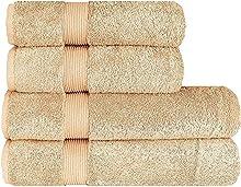 Juego de toallas de lujo (4 piezas) – 2 toallas de ducha de 70 x 140 cm y 2 toallas de mano de 50 x 100 cm, 100% algodón turco, 600 g/m², Frappé