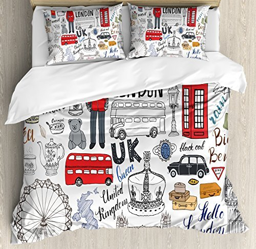 Ambesonne Hipster Duvet Cover Set, I Love London Double Decker Bus Telephone Booth Cab Crown of United Kingdom Big Ben, Decorative 3 Piece Bedding Set with 2 Pillow Sham, Queen Size, White Red