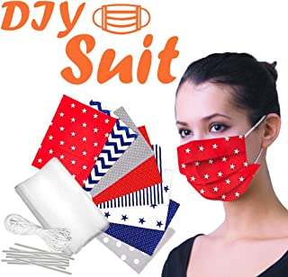 DIY Face Cover Fabric Material Set - Multiple Pattern Artistic Fabric Material Set - 4th of July Self-Made DIY Breathable Square Fabric and Elastic Rope for Mask Sewing (B)