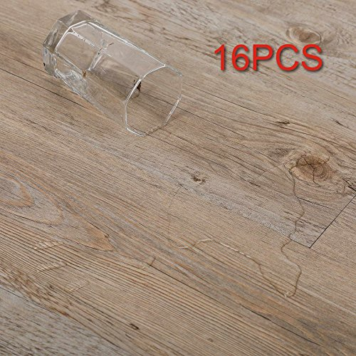 CO-Z 16 PCS 24 Square Feet, Vinyl Floor Planks Adhesive Floor Tiles, 2.0mm Thick (Oak - 24 sq ft - 1 Pack)