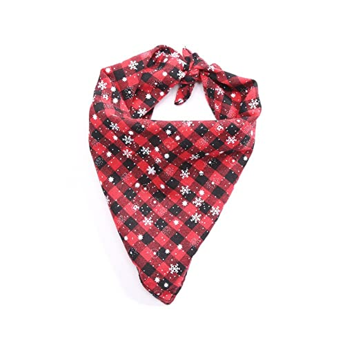 Stock Show Pet Dog Bandana Triangle Bibs Scarf Cute Chirstmas Snowflakes  Plaid Printing Reversible Kerchief Accessories fcd651a749ef