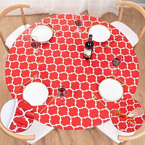 UMINEUX Round Fitted Vinyl Tablecloth with Elastic Edged & Flannel Backing, Waterproof Wipeable Round Table Cover for Indoor Patio Use - Fits Tables up to 44' - 56' Diameter(Red Moroccan)