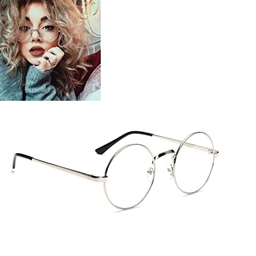 bd2ec197e5 Unisex Round Glasses Metal Frame Summer Retro Clear Lens Vintage Geek  Oversized Eyelasses