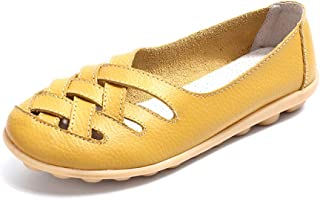 AUCDK Women Slip On Loafers Leather Casual Ballet Flats Hollow Walking Shoes Lightweight Ladies Nursing Shoes