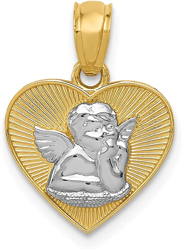 Solid 14k Credence Yellow and White Gold Tone Two Polished Angel Guardian Arlington Mall