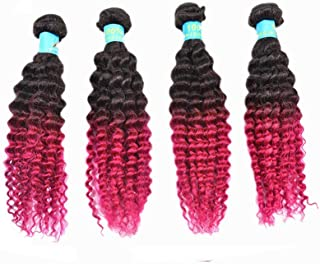 Fashian Women Human Hair Hair Curtain Afro Curly African Fashion Lady Long Curly Hair Wig DIY Fun (Color : Gradient, Size : 16inch)