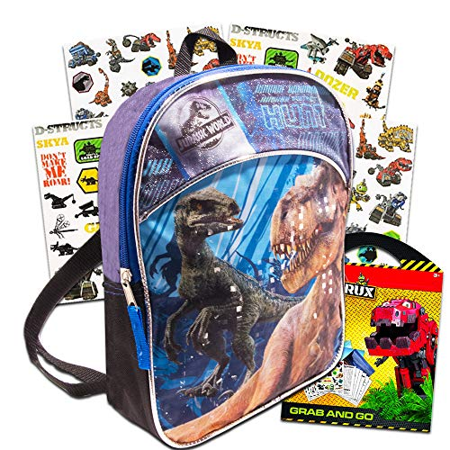 Jurassic World Dinosaur Mini Backpack Set -- Deluxe 11' Jurassic World Backpack for Kids Boys Toddlers with Dinotrux Stickers (Jurassic World School Party Supplies)