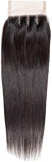 (16, Three Part Closure) - Angie Queen Human Hair Closure Brazilian Lace Closure Straight Hair Closure Unprocessed Virgin ...