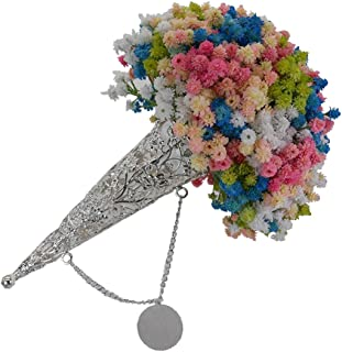 Boujean Silver Bouquet Holder Flower Holder for Bridal Bouquet Handle for Brooch Bouquets, Perfect for Wedding Parties, Formals, Anniversary and More(Classic)