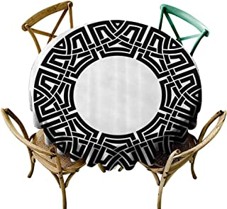 StarsART Round Tablecloth Vinyl Fitted Celtic Decor Collection,Ornamental Round Celtic Frame with Folkloric Tied Knot Pattern Vintage Decorative Design,Black White D54,for Wedding Reception Nave Blue
