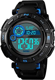 TONSHEN Mens Fashion Multifunction 50M Waterproof Sport Watch Outdoor Military LED Electronic Double Time Stopwatch Alarm Countdown Digital Watches Plastic Case with Rubber Band (Blue)