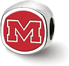 Sterling Silver Rhodium-plated Laser-cut University of Mississippi Cushion Shaped Double Logo Bead Charm
