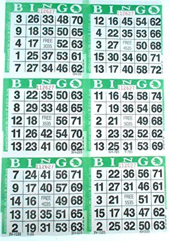 6auf Grün Bingo Papier Karten–500Blatt–3000Karten von amerikanischen Spiele INC