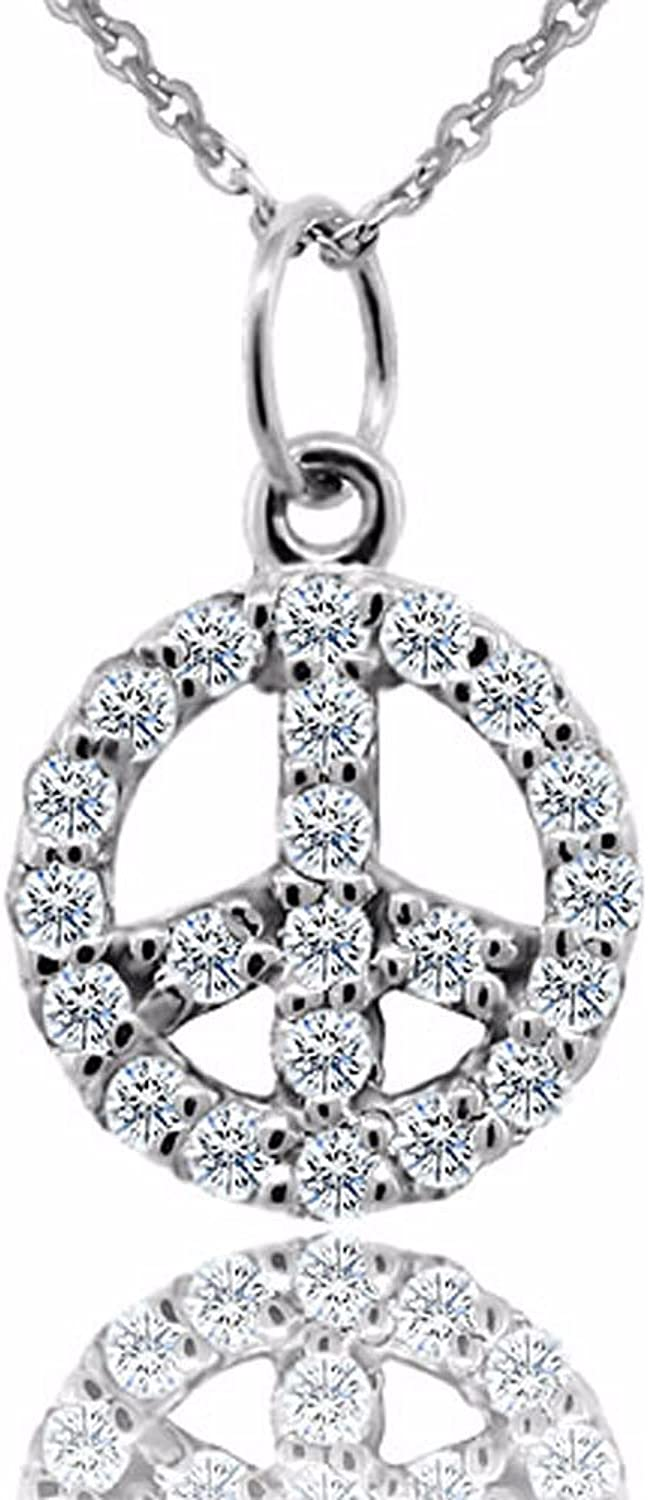 0.24CT Diamond 14K White gold Peace Sign Charm Pendant