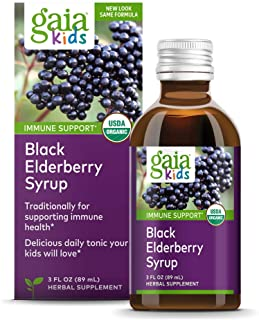 Sponsored Ad - Gaia Herbs, Gaia Kids Black Elderberry Syrup, Delicious Daily Immune Support with Antioxidants, Organic Sam...