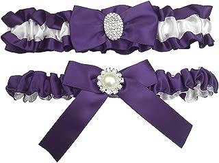 Kirmoo Bridal Garter Belt Set Royal Blue and White Wedding Keepsake Toss Garters