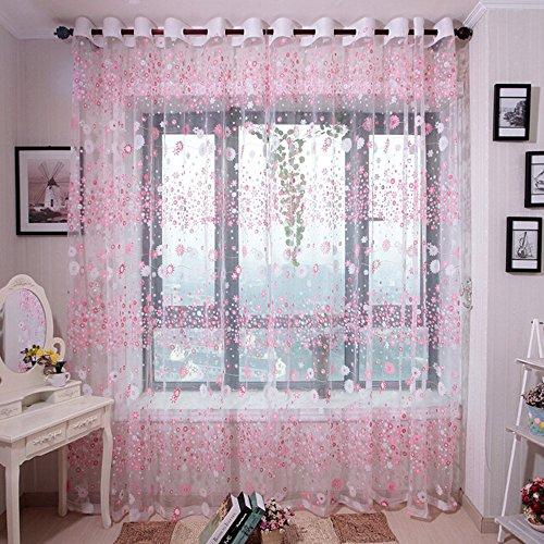 Deloito Blume Tüll Fenster Behandlung Vorhang Blackout Drapieren Volant Voile Panel Stoff Transparent Voile Gardinen für Wohnzimmer (Rosa,200 * 100cm)