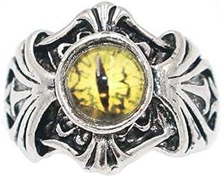 Faruodis Evil Eye Ring Blue Eye Statement Ring Adjustable Punk Stacking Band Jewelry for Women Men Girls