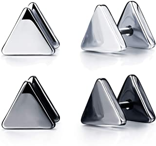 2 Pairs Triangle Stud Earrings Stainless Steel Earring Piercing 9mm for Women Men Black and Silver Tone