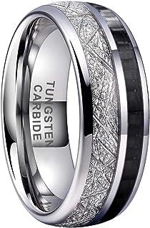 BestTungsten 8mm Silver/Gold/Rose Gold Tungsten Rings for Men Women Black Carbon Fiber Meteorite Inlay Domed Polished Shin...