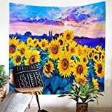 JOOCAR Trippy Oil Painting Sunflowers Tapestry Wall Hanging Colorful Sunflower Printed Tapestry Watercolor Wall Decor for Bedroom Living Room Dorm