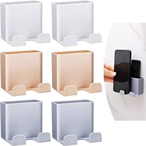 6 Pieces Wall Mount Phone Holders Adhesive Wall Phone Storage Box Wall Mounted Phone Holder Multi-Function Storage Box Hook Wall Smartphone Stand for Home Bedroom Bathroom Kitchen Office Wall