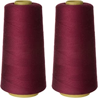 RCL 100% Polyester Sewing Thread Cone 2-Pack of 3000 Yards Each Spool Connecting Threads for Overlock Serger Merrow Quilt Single Needle Sewing Machine