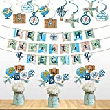 Travel Themed Party Decorations Set Let the Adventure Begin Banner Centerpieces Sticks and Hanging Swirls for Bon Voyage Retirement Farewell Party World Awaits Birthday Baby Shower Decorations Supplies