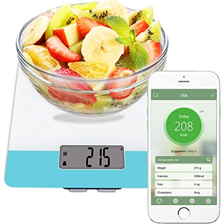 Easy@Home Balanza Digital de Comida para la Cocina Aplicación Calculadora Nutricional– Peso, Calorías, Grasas, Colesterol, Carbohidratos - Función de ...