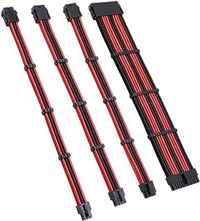 Ronyme 4pcs Power Sleeved Cabos ATX PCI-E Extension Cable Kit Conectores com Pentes 11,81 '' Soft - Preto Vermelho B