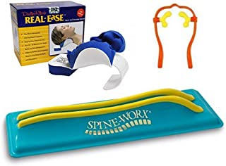 (Set of 3) Spine-Worx Back Realignment Device + Real Ease Neck and Shoulder Relaxer + Neck Massager