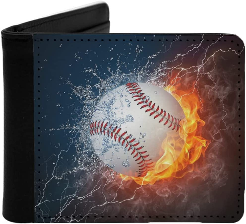 Mens Womens Slim Wallet,Baseball ball in fire and water. Illustration of the baseball ball enveloped in elements,With ID Window Money Clip RFID Blocking Bifold Credit Card Holder Front Pocket