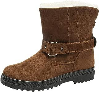 Women Winter Warm Boots, Ladies Solid Round Toe Fashion Buckle Snow Boots Non-slip