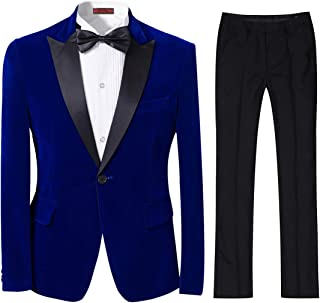 Cloudstyle Mens 2-Piece Suit Peaked Lapel One Button Tuxedo Slim Fit Dinner Jacket & Pants