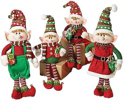 Amazon Com Set Of 4 Christmas Elves Plush Figurines For Holiday Home Decor Home Kitchen