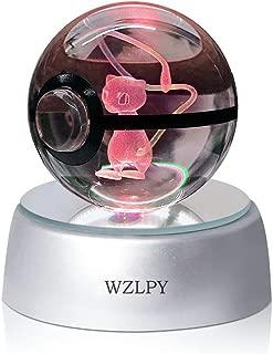 WZLPY Lampe LED 3D en forme de boule de cristal - Veilleuse pour enfants, la base se décolore automatiquement - 50mm de diamètre