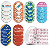 30 Pcs COVID-19 Vaccination Reminding Pack Include 24 Pcs Round Covid-19 Vaccinated Pin Buttons in 6 Designs, 6 Pcs White Covid-19 Vaccination Bracelets
