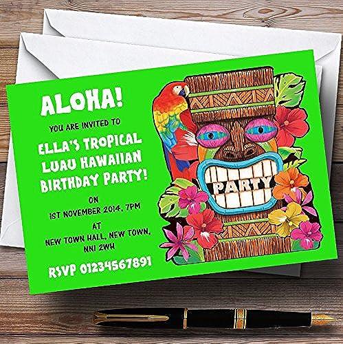 venderse como panqueques verde Tropical Luau hawaiano personalizado invitaciones invitaciones invitaciones de fiesta  disfrutando de sus compras