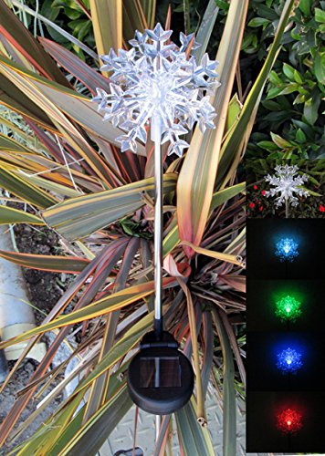 Solar Color Change Lights Snowflakes Christmas Stake