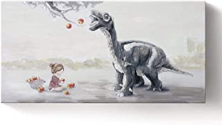 Ejart Wall Art Decor Cute Baby Dinosaur and Apple Tree Canvas Print Contemporary Framed Canvas Print with Hand-Painted Texture Nursery Illustrations Animal Picture for Kids Room Girls Room Bedroom