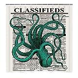 KUKUALE Octopus Duschvorhang mit 12 Haken, Zeitung Kleinanzeigen mit Worten Duschvorhang, Ocean Creature Vintage Style 180x180cm (71x71in)
