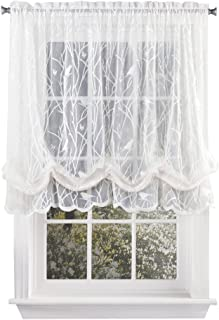Collections Etc Songbird Shabby Chic Lace Balloon Shade Curtain with Rod Pocket Top, 56