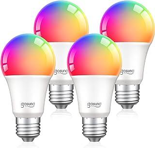 لامپ هوشمند تغییر رنگ Gosund RGB با Alexa Echo Google Home E26 8W LED Wfi Bulb Dimmable 75W معادل A19 ، فقط 2.4 گیگاهرتز WiFi ، بدون توپی لازم است 4 بسته